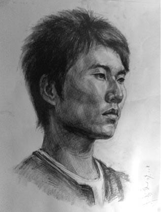 男青年头像——天津中举画室高考美术资讯网