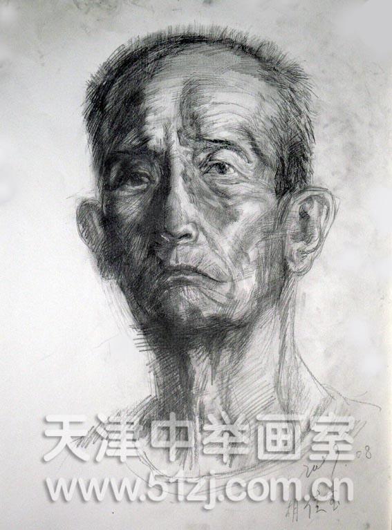 老年正面写生——天津中举画室高考美术资讯网