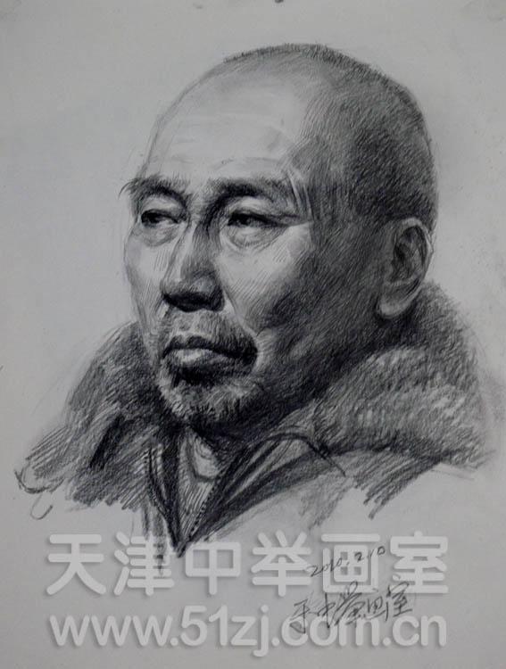 老年头像写生——天津中举画室高考美术资讯网